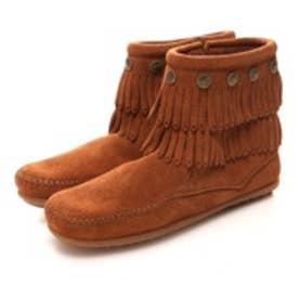 ミネトンカ MINNETONKA Double  Fringe Side Zip  Boot(BROWN)