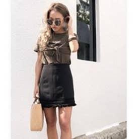 エゴイスト EGOIST 裾タッセル台形スカート (BLACK)