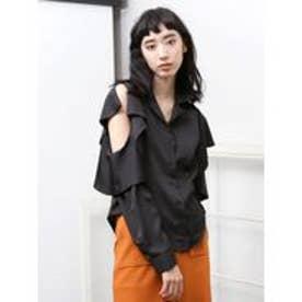 EMODA フリルショルダーシャツ(ブラック)