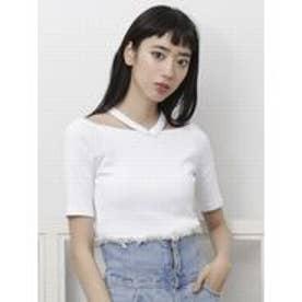 EMODA WストラップフィットTシャツ(ホワイト)