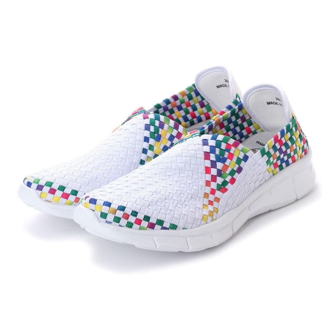 ゴムゴム Gomu56 MEN\u0027S Vカットメッシュデザインシューズ (ホワイト/レインボー) ,靴&ファッション通販 ロコンド〜自宅で試着、気軽に返品