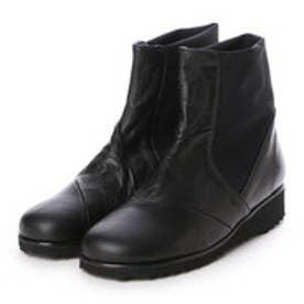 ジェイエスハートレーベル JS HEART LABEL 軽量牛革&ストレッチコンビ快適ブーツ (ブラック)