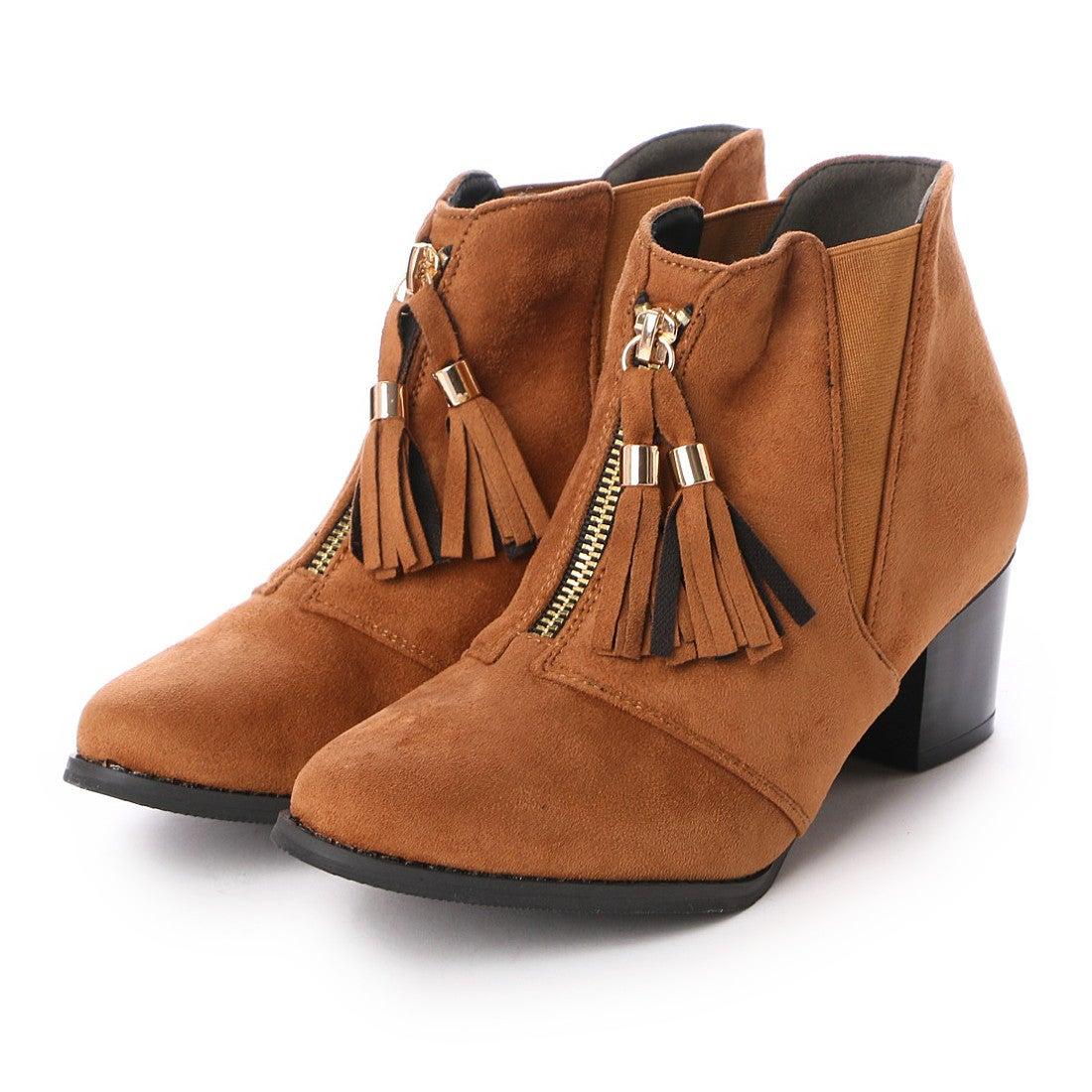 【SALE 52%OFF】ヌーベルヴォーグ リラックス NOUBEL VOUG Relax タッセル フリンジ サイドゴア ブーティー ショート ブーツ (キャメルスエード) レディース