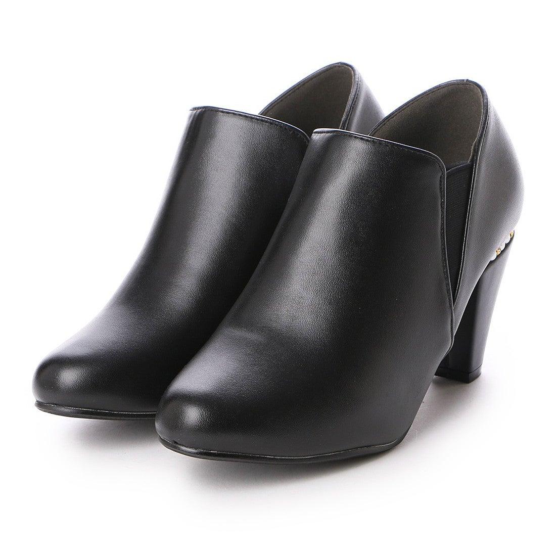 【SALE 50%OFF】ヌーベルヴォーグ リラックス NOUBEL VOUG Relax パール付き ハイヒール サイドゴア ブーティー ショート ブーツ (ブラック) レディース