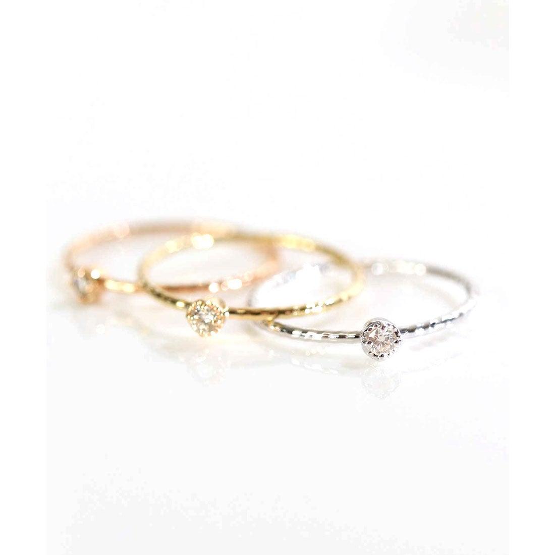 クレア CLAIRE 【K10】ワンポイントダイヤモンドリング (ホワイトゴールド)