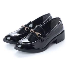 スクランブル scramble ビットローファーマニッシュシューズ おじ靴 スリッポン (ブラック/エナメル)