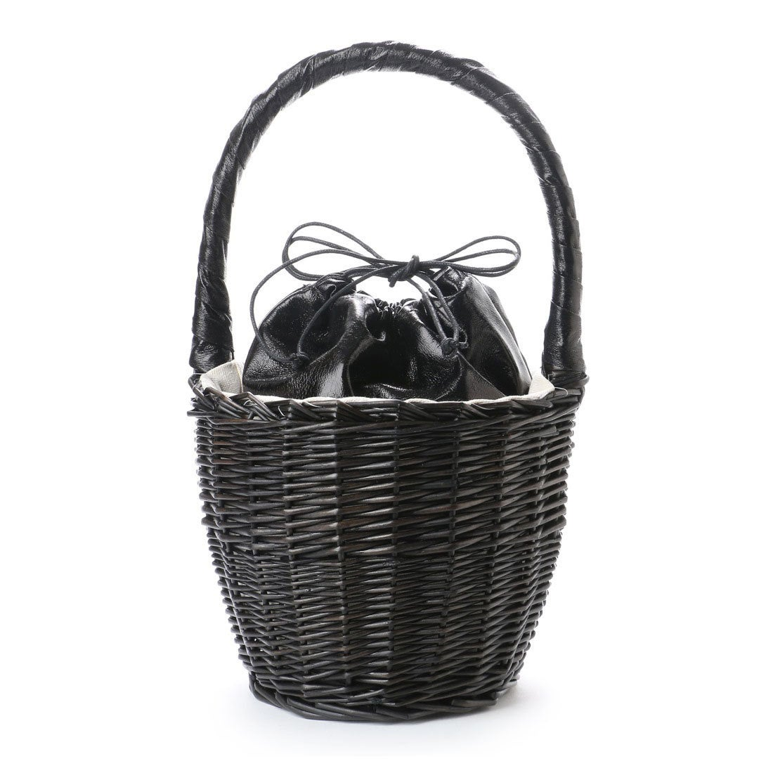 【EVOL】ILIMA Casselini メタリック巾着かごバッグ (ブラック) レディース