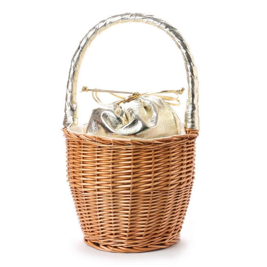 【EVOL】ILIMA Casselini メタリック巾着かごバッグ (ゴールド) レディース