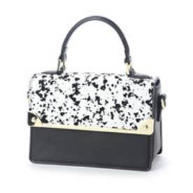 フォリフォリ Folli Follie MISS FF バイカラーハンドバッグ(ホワイト/ブラック柄×ブラックレザー)