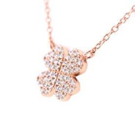 フォリフォリ Folli Follie Fashionably Silver Heart 4 Heart Love クローバーネックレス/ピンクゴールド