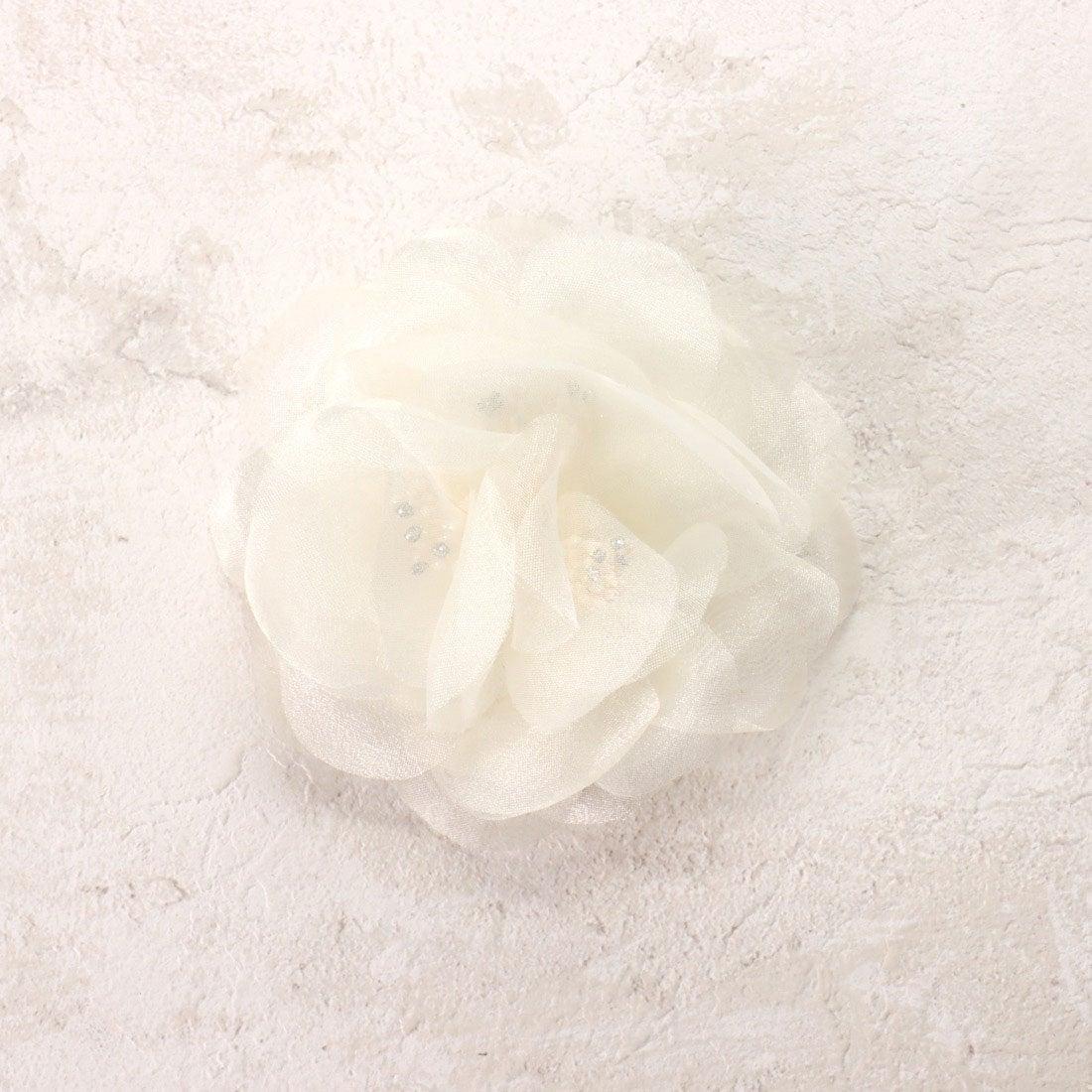 コムサイズム COMME CA ISM 2WAYオーガンジーフラワーコサージュ (ホワイト)【オケージョン・フォーマル・結婚式・お呼ばれ】