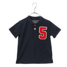 コムサイズム COMME CA ISM サガラ刺繍のワッペン付半袖ポロシャツ (ネイビー)