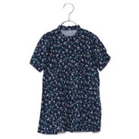コムサイズム COMME CA ISM 小花プリントシャツドレス (ネイビー)