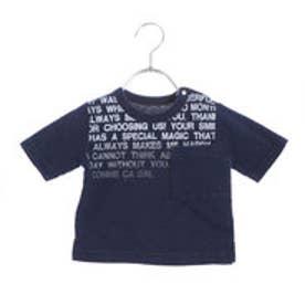 コムサイズム COMME CA ISM ロゴプリント半袖Tシャツ (ネイビー)