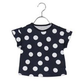 コムサイズム COMME CA ISM Aラインドットプリント半袖Tシャツ (ネイビー)
