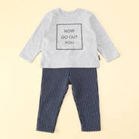 コムサイズム COMME CA ISM Tシャツ&ストライプパンツ ギフトセット 80・90サイズ 男の子向け (ライトグレー)