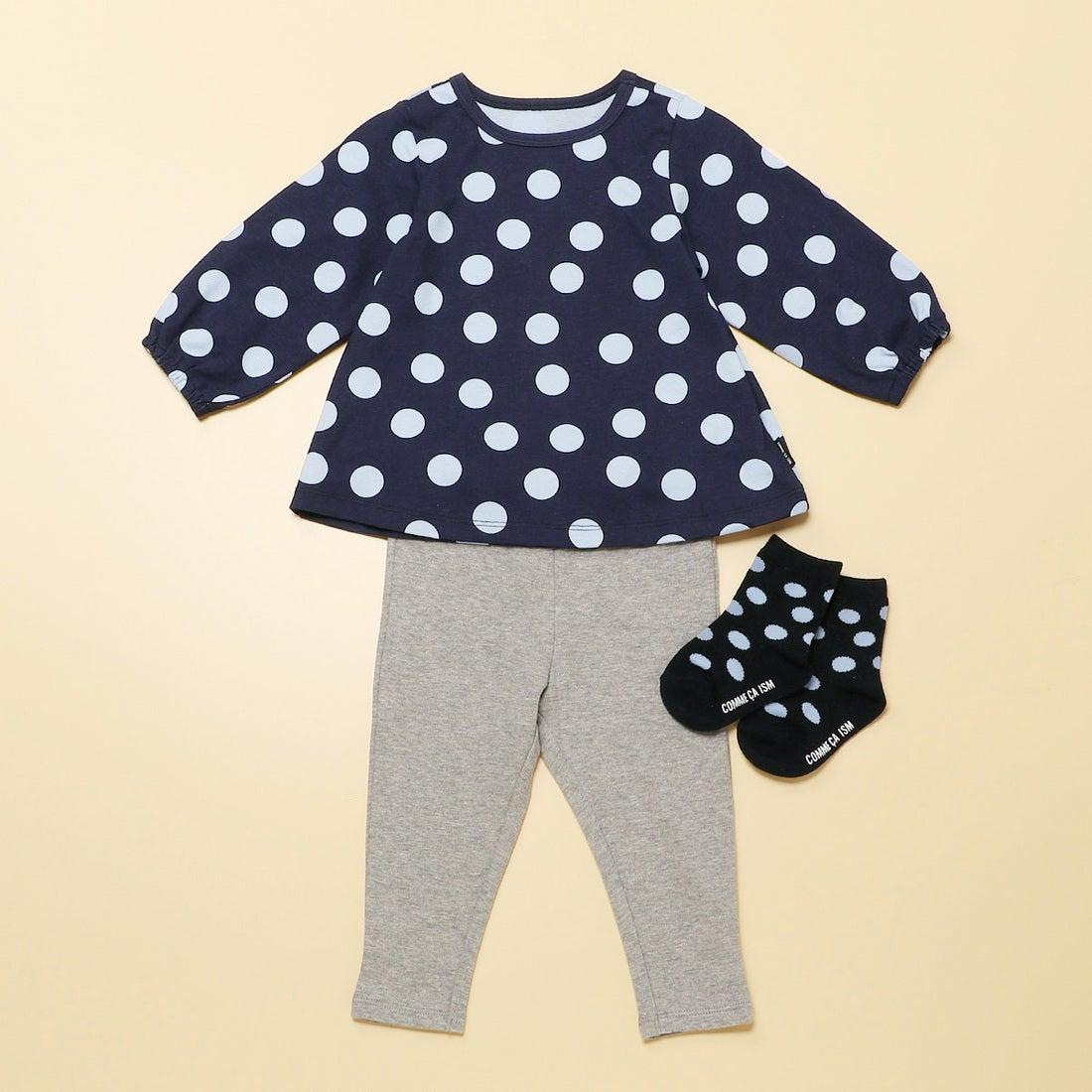 0f84604609347 コムサイズム COMME CA ISM  ギフトセット  女の子用 (1・2歳頃) 長袖チュニック&スパッツ (ネイビー) -靴&ファッション通販  ロコンド〜自宅で試着、気軽に返品