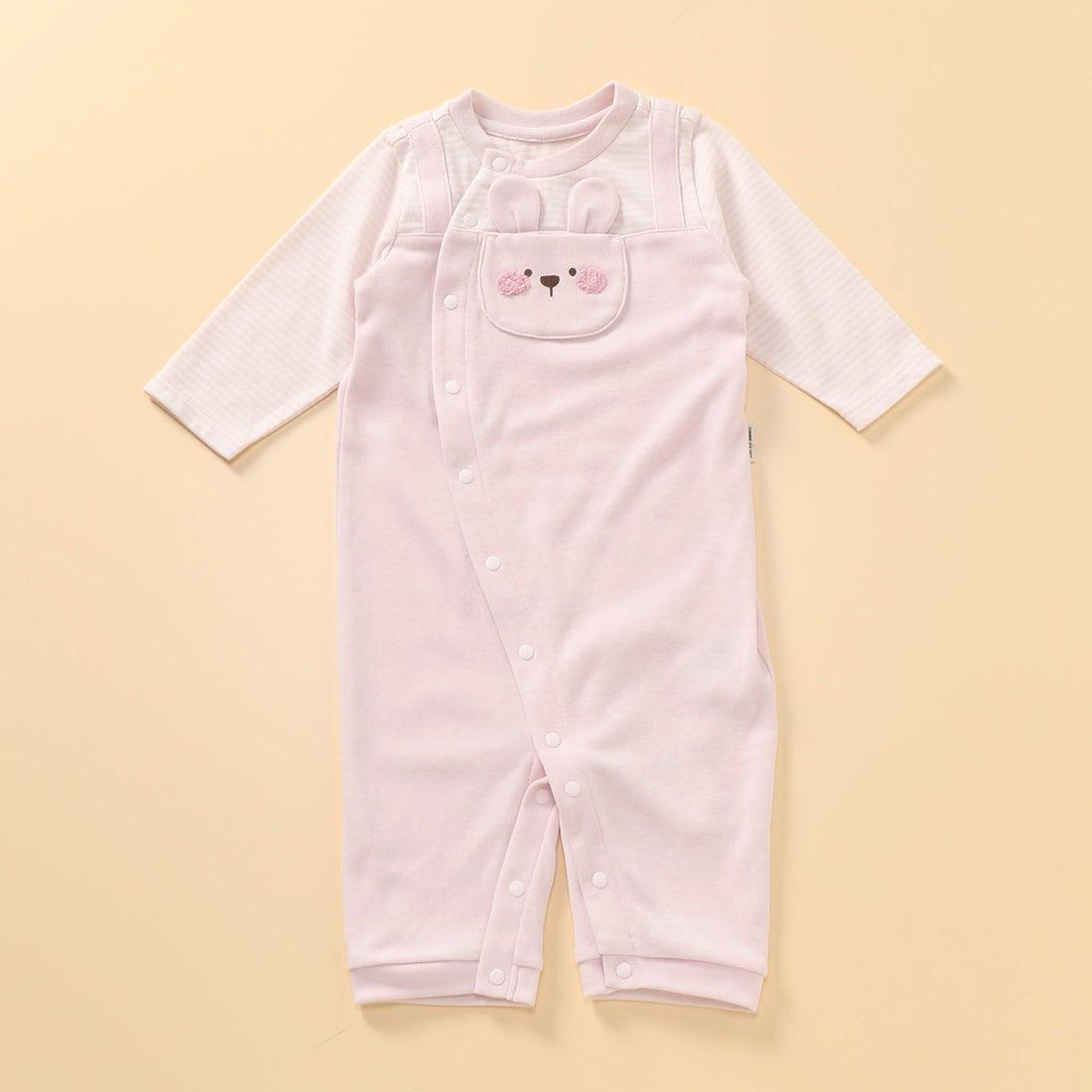 コムサイズム COMME CA ISM 動物アップリケ付き 長袖ツーウェイオール(50-70サイズ) (ピンク)
