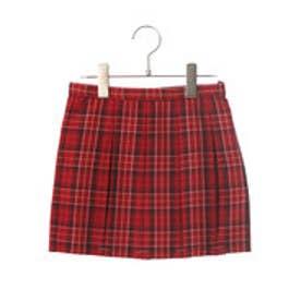 コムサイズム COMME CA ISM タータンチェックプリーツスカート (レッド)