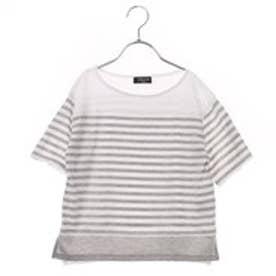 コムサイズム COMME CA ISM ドロップショルダーボーダーTシャツ (グレー)