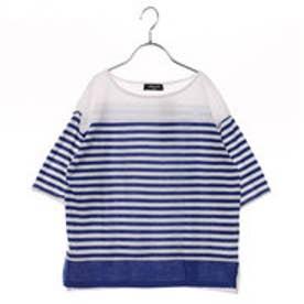 コムサイズム COMME CA ISM ドロップショルダーボーダーTシャツ (ブルー)