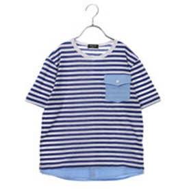 コムサイズム COMME CA ISM ボーダーTシャツ (ブルー)