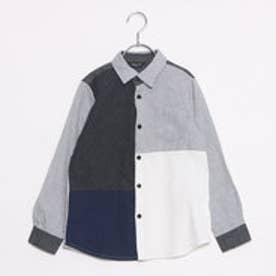 コムサイズム COMME CA ISM ブロッキングシャツ (ライトグレー)