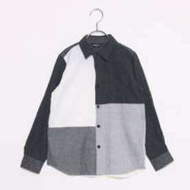 コムサイズム COMME CA ISM ブロッキングシャツ (チャコール)