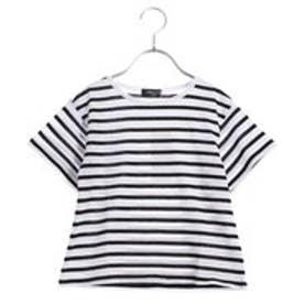 コムサイズム COMME CA ISM AラインボーダーTシャツ (ブラック)