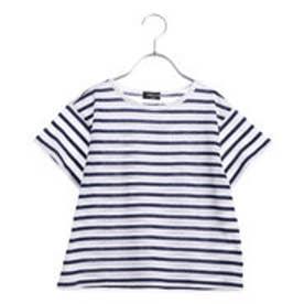 コムサイズム COMME CA ISM AラインボーダーTシャツ (ネイビー)