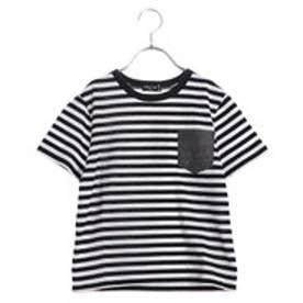 コムサイズム COMME CA ISM ポケット付ボーダーTシャツ (ブラック)