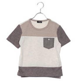 コムサイズム COMME CA ISM ナチュラルカラーブロッキングTシャツ (ベージュ)