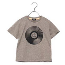 コムサイズム COMME CA ISM レコードプリントTシャツ(キッズサイズ) (カーキ)