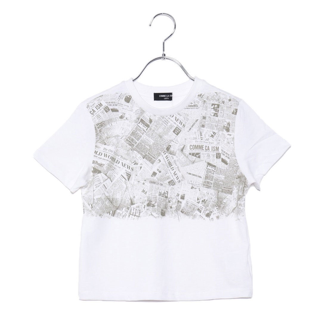 ea0ba6eefd7e1 コムサイズム COMME CA ISM ニュースペーパー柄プリントTシャツ (ホワイト) -アウトレット通販 ロコレット (LOCOLET)