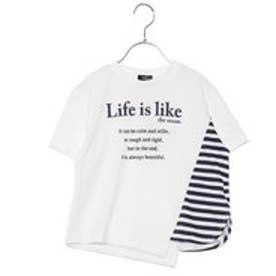 コムサイズム COMME CA ISM ビッグシルエット ボーダー使い Tシャツ (ホワイト)