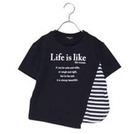 コムサイズム COMME CA ISM ビッグシルエット ボーダー使い Tシャツ (ネイビー)