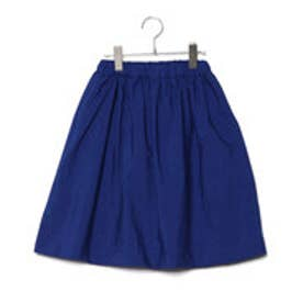 コムサイズム COMME CA ISM 【洗える】 ギャザー ミモレ丈 スカート (ブルー)