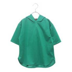コムサイズム COMME CA ISM 【洗える】 スポーティー 半袖 カラー パーカ リンクコーデ (グリーン)
