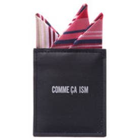 コムサイズム COMME CA ISM 結婚式にも活躍 簡単 マルチボーダー 台紙付 ポケットチーフ (レッド)