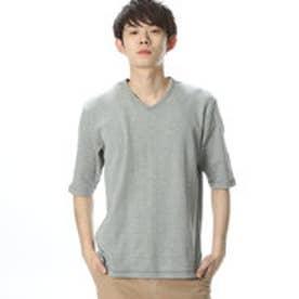 コムサイズム COMME CA ISM 表面感の有る新しいワッフルTシャツ (グレー)