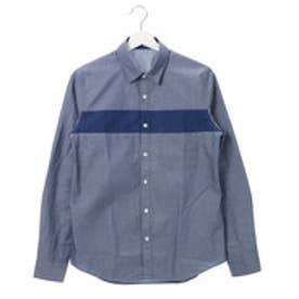 コムサイズム COMME CA ISM インディゴツイルコンビシャツ (ブルー)