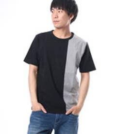 コムサイズム COMME CA ISM ストライプ切り替えTシャツ (ブラック)
