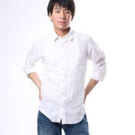 コムサイズム COMME CA ISM 6色展開の爽やかな綿麻7分袖シャツ (ホワイト)