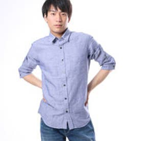 コムサイズム COMME CA ISM 6色展開の爽やかな綿麻7分袖シャツ (ネイビー)
