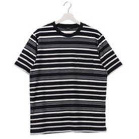 コムサイズム COMME CA ISM ロープ柄のボーダーTシャツ (ネイビー)