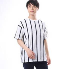 コムサイズム COMME CA ISM ストライプビッグTシャツ (ホワイト)
