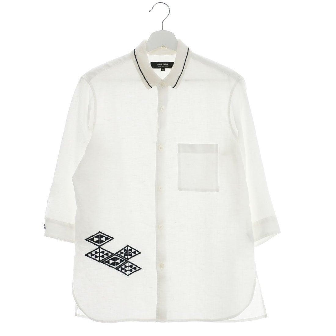 【SALE 70%OFF】コムサイズム COMME CA ISM 菱刺し刺繍フレンチリネンニット衿シャツ (ホワイト)