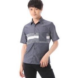 コムサイズム COMME CA ISM ボーダー柄ニットコンビシャツ (ネイビー)