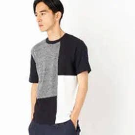 コムサイズム COMME CA ISM 前身頃がニットになったコンビネーションTシャツ (ネイビー)