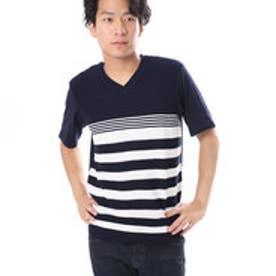 コムサイズム COMME CA ISM 異素材コンビネーションTシャツ<パネルボーダー柄> (ネイビー)